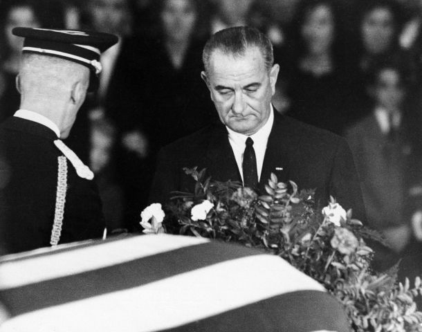 LBJ at JFK casket