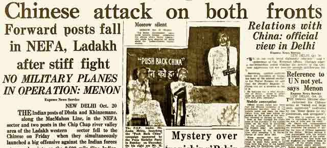 News paper headlines during 1962 Indo china war
