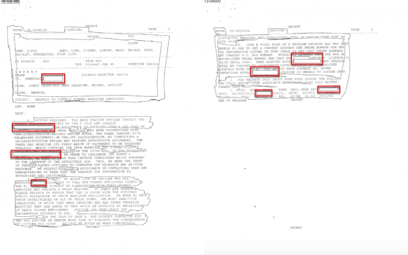 JFK Records Release:	Why the Redactions?